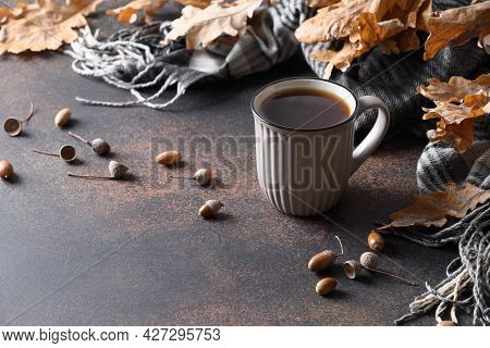 Healthy Beverage Coffee Substitute Without Caffeine, Acorn Coffee In Cozy Fall Lifestyle.