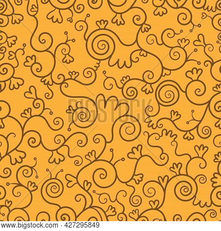 Abstract Seamless Pattern On Orange Background. Doodle Plants Wallpaper. Line Art Branched Print.
