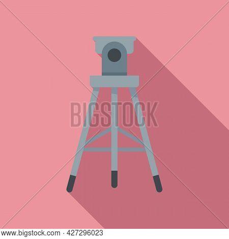 Video Tripod Icon Flat Vector. Photo Camera Stand. Studio Tripod