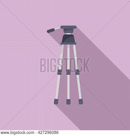 Photo Tripod Icon Flat Vector. Camera Mobile Stand. Studio Film Tripod