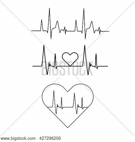 Heart Icon With Sign Heartbeat. Vector Illustration Isolated. Heartbeat In Outline Style.