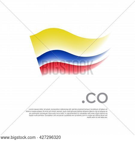 Colombia Flag. Stripes Colors Of The Colombian Flag On A White Background. Vector Design National Po
