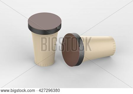 Blank Packaging Containers For Yogurt, Ice Cream Or Dessert. 3d Illustration