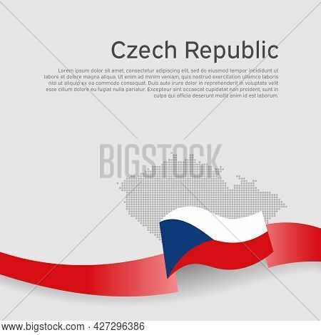 Czech Republic Flag, Mosaic Map On White Background. Wavy Ribbon With The Czech Republic Flag. Vecto