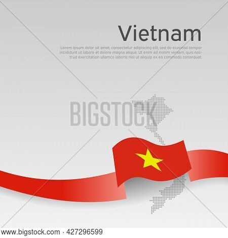 Vietnam Flag, Mosaic Map On White Background. Cover For Vietnamese Business Booklet. Wavy Ribbon Wit