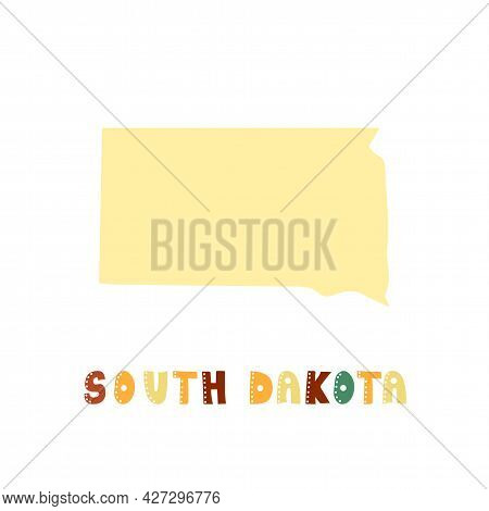 South Dakota Map Isolated. Usa Collection. Map Of South Dakota - Yellow Silhouette. Doodling Style L