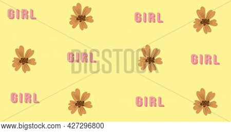 Composition of text girl power on yellow background. girl power, positive female strength and independence concept digitally generated image.