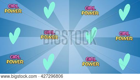 Composition of text girl power on blue background. girl power, positive female strength and independence concept digitally generated image.