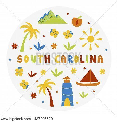 Usa Collection. Vector Illustration Of South Carolina. State Symbols - Round Shape