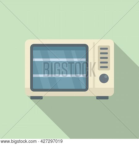 Old Microwave Icon Flat Vector. Electric Convection Oven. Fan Kitchen Stove