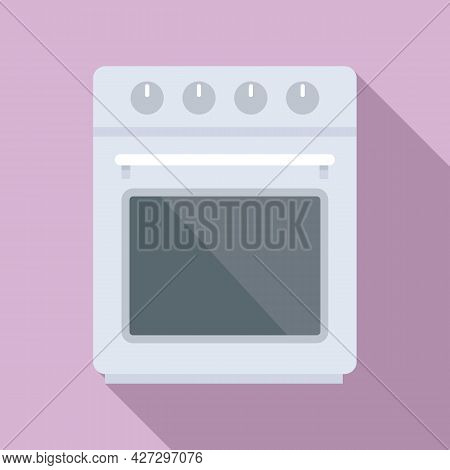 Front Convection Oven Icon Flat Vector. Electric Kitchen Stove. Grill Gas Oven