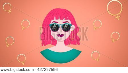 Composition of woman smiling on pink background. girl power, positive female strength and independence concept digitally generated image.