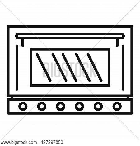 Fire Oven Icon Outline Vector. Convection Grill Stove. Electric Kitchen Oven