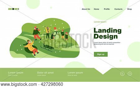 Happy Kids Enjoying Winter And Snow, Sliding Down Hill On Inflatable Sled, Making Snowman. Vector Il