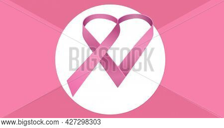 Composition of pink breast cancer ribbon on pink background. breast cancer positive awareness campaign concept digitally generated image.