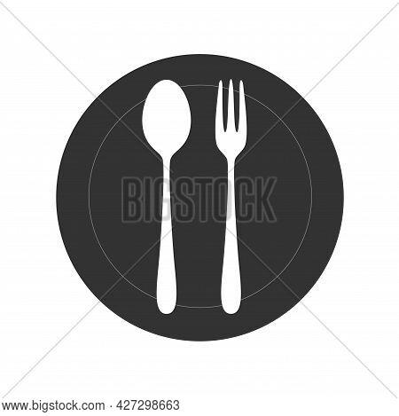 Restaurant Utensil Spoon Plate Fork. Vector Stock