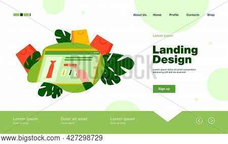 Woman Shopping Online. Hand Pf Customer, Screen With Internet Store Page, Bags Flat Vector Illustrat