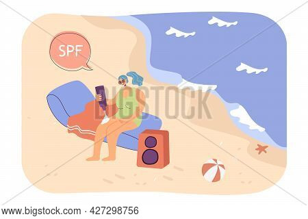 Girl Sitting On Beach, Using Spf Cream Flat Vector Illustration. Happy Woman In Swimsuit Caring Abou
