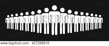 Simple Crowd Icon, Group Of People Silhouettes Standing In Rows Isolated On Black