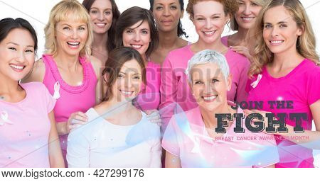 Composition of pink join the fight text over group of smiling women. breast cancer positive awareness campaign concept digitally generated image.
