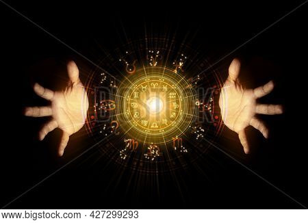 Zodiac Signs Inside Of Horoscope Circle. Astrology In The Sky With Many Stars And Moons Astrology An