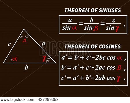 Vector Illustration Depicting A Triangle With Sine And Cosine Theorem Formulas For Prints On Educati