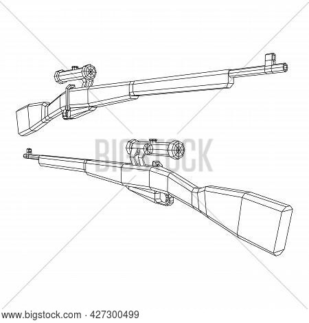 Sniper Bolt-action Rifle Mosin Nagant. Wireframe Low Poly Mesh