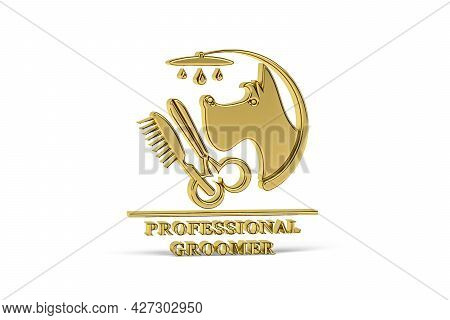 Golden 3d Groomer Icon Isolated On White Background - 3d Render
