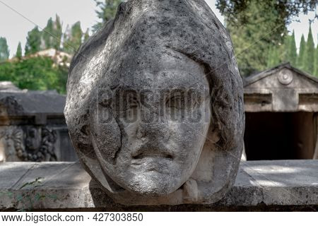 Geyre, Turkey - May 30, 2021: This Is The Face Of Medusa The Gorgon On The Remains Of An Antique Sar