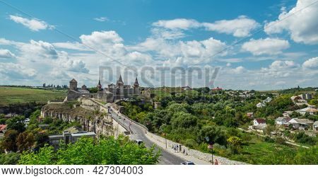 Beautiful view of Kamianets-Podilskyi Castle. The most remarkable medieval landmark of  central Ukraine.  Travelling across Ukraine.