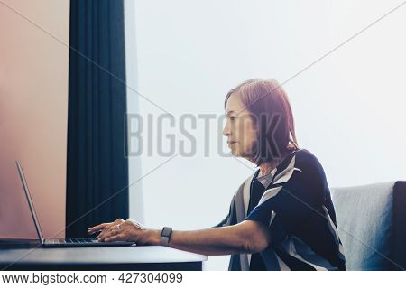 Senior Woman Working On Laptop Computer At Home.