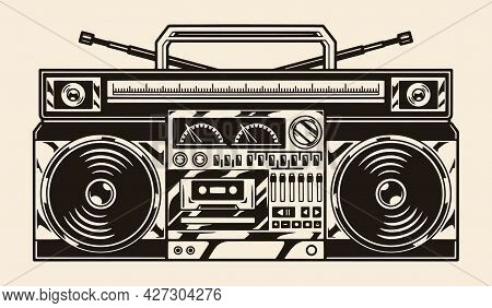 Vintage Concept Of Ghetto Blaster With Radio Buttons Knobs And Two Audio Speakers In Monochrome Styl