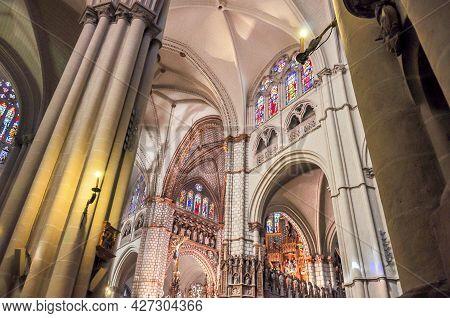 Toledo, Spain - June 2018: Interiors Of Toledo Cathedral