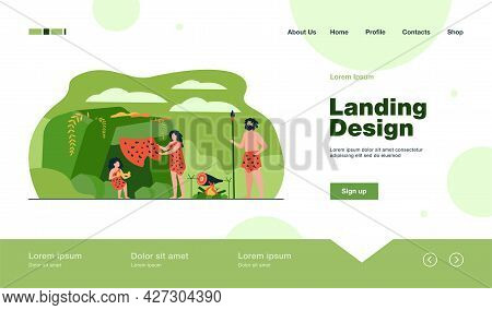 Prehistoric Family Couple And Kid Wearing Leopard Hides, Cooking Food At Cave Entrance. Vector Illus