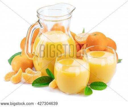 Glasses and carafe of fresh tangerine juice  and tangerine fruits isolated on white background.