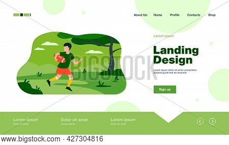 Cheerful Young Boy Playing Rugby Game In Park. Sporty Kid In Uniform With Ball Running On Field. For