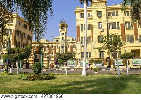Cairo - Egypt - October 4, 2020: Governmental Building Entrance. Facade Of Historical Place Located