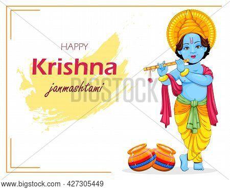 Happy Krishna Janmashtami Greeting Card. Lord Krishna Paying Flute. Stock Vector Illustration