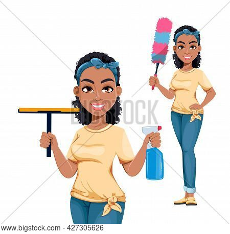 Pretty African American Housewife, Set If Two Poses. Cute Lady Cartoon Character Doing Domestic Work