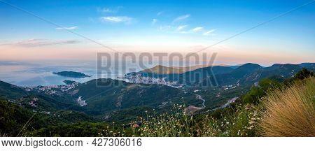 Panoramic Landscape Of Budva Riviera In Montenegro. Morning Light. Balkans, Adriatic Sea, Europe. Vi