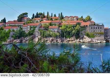 Picturesque View Of Sveti Stefan Resort-island, Montenegro, Adriatic Sea, Europe