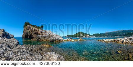 Picturesque Panorama Of The Budva Riviera In Montenegro From The Sveti Nikola Island. Adriatic Sea,