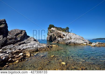 Picturesque Rocks On The Sveti Nikola Island. Montenegro, Adriatic Sea, Europe
