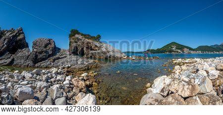 Picturesque Panorama Of The Rocks And Sea On The Sveti Nikola Island. Montenegro, Adriatic Sea, Euro