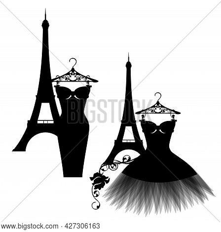 Luxuriuos Paris Haute Couture Fashion Atelier Vector Silhouette Set With Little Black Dress And Eiff