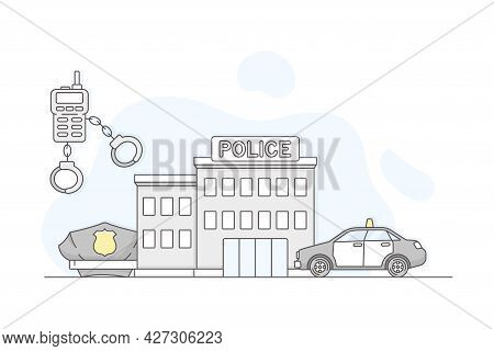Municipal Or City Services For Citizen With Police Department Vector Illustration