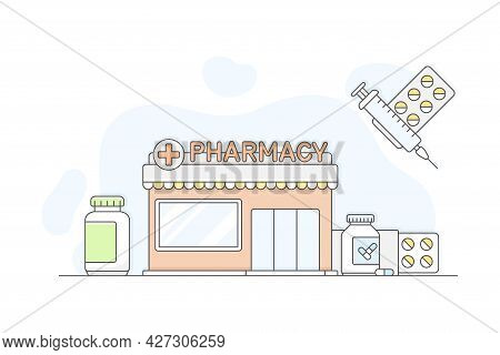 Municipal Or City Services For Citizen With Pharmacy Department Vector Illustration