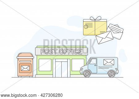 Municipal Or City Services For Citizen With Post Office Department Vector Illustration