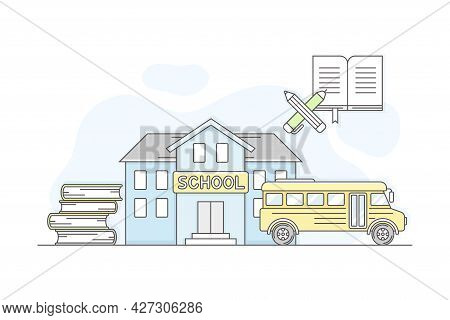 Municipal Or City Services For Citizen With School Department Vector Illustration
