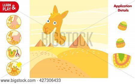 Cut Glue Camel In Desert Children Paper Application Game